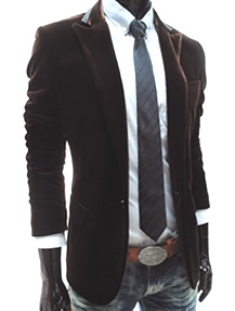 Mens TheLees Velvet Brown Blazer with Jeans Look