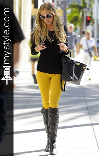 Black and Yellow Skinny Jeans for Women with Black Boots