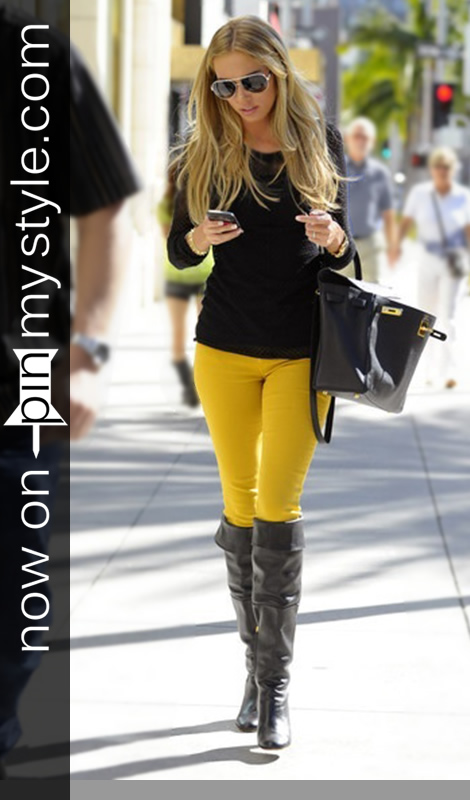 Pin My Style» Sexy - Black and Yellow Skinny Jeans for Women with