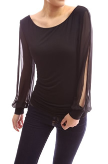 Women's Sheer Longsleeve Scoop Neck by PattyBoutik