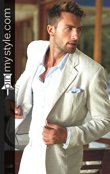Mens Beige Blazer and Light Blue Buttoned Shirt