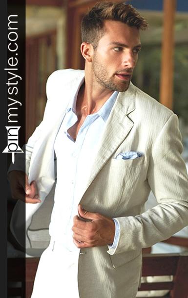 Mens Beige Blazer and Light Blue Buttoned Shirt