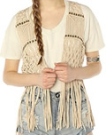 Womens 70s Fashion Crochet Fringe Top by Ladakh
