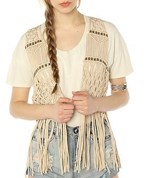 Pin My Style 70s Fashion Crochet Fringe Vest With Silver Cuff Bangles