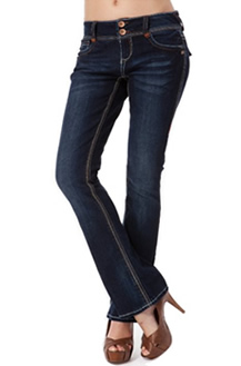 Womens Dark Blue Wallflower Boot Cut Jeans