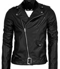 Mens Cool Black Leather Biker Style Jacket by Allegra K