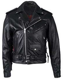 Mens Black Cool Leather Biker Style Jacket