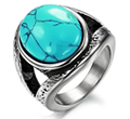 Womens Turquoise Stone Stainless Steel Oval Ring