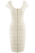 Womens Elegant White Zip Dress by Miusol