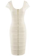 Womens Elegant White Zip Dress by Miusol
