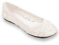 Womens White Crochet Flats by Soda