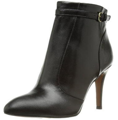 Black Suede Leather Nine West Mainstay Ankle Bootie with Heels