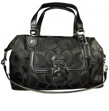 Black Signature Satchel Handbag 25292 by Coach