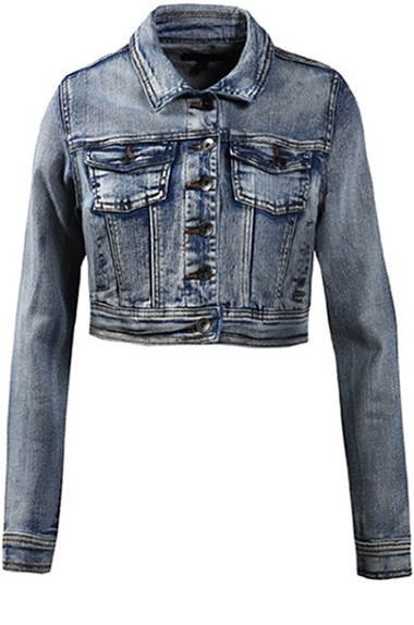 Women's Cropped Jean Jacket Style by Le3n0