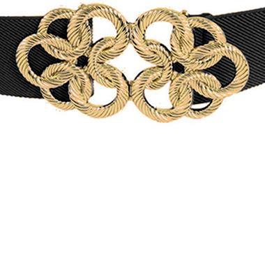 Women's Black and Gold Waist Cinch Belt by Allegra K