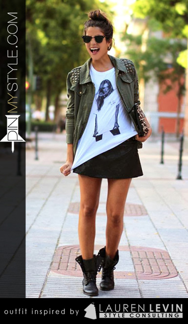 Womens Green Studded Blazer Jacket with Combat Boots