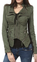 Womens green studded blazer jacket by DJT