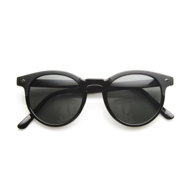 Womens Horned Wayfarer Black Sunglasses